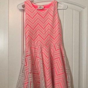 Neon Pink/White Lace Dress
